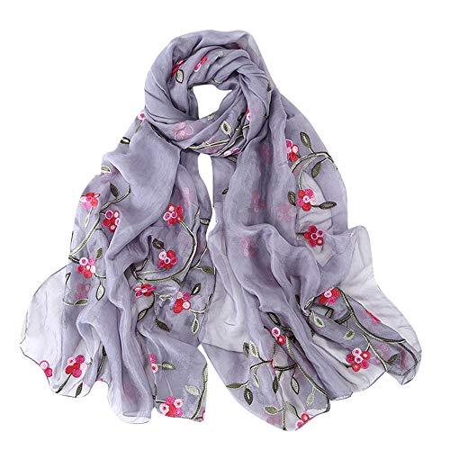 Quaan Fröhlich Stickerei Chiffon Schal Baumwolle und Leinen- Streifen exquisit Hijab Weich Winter Warm Solide Stricken Wolle Hals Retro Draußen Glamourös Weich Elegant Sexy Klassisch Seide Schal