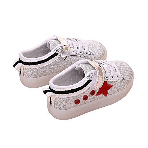 TAIYCYXGAN Jungen Mädchen Flache Turnschuhe Sportschuhe Kinder LED leuchtende Schuhe Rot