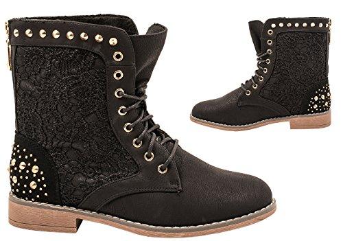 Elara Damen Stiefeletten | Worker Boots Spitze | Zipper mit Blockabsatz Schwarz Fashion
