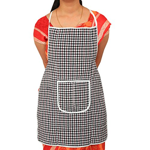 Kuber Industries™ Multicolor Cotton Checks Apron (Reversible & Can Use From Both...