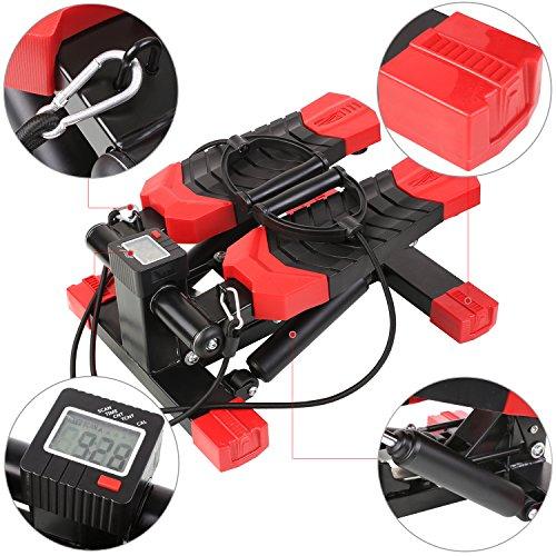 MVPower Swing Stepper inklusive Trainingsbändern/Hometrainer Stepper mit kabellosem Trainingscomputer - Up-Down-Stepper für Einsteiger und Trainierte, klein und kompakt