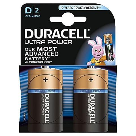 Duracell Ultra Power Typ D Alkaline Batterien, 1er Pack (1 x 2 Stück) (D & G Masculine For Men Eau De Toilette)