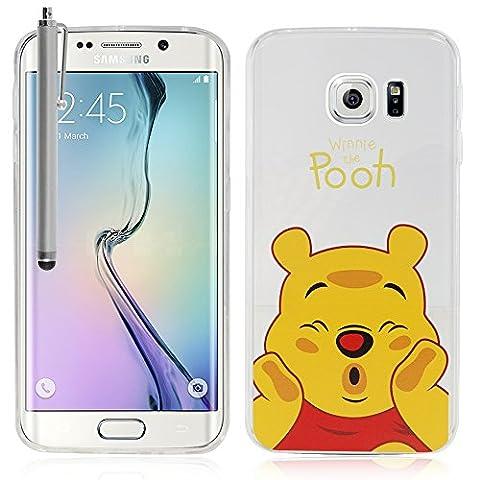 VComp-Shop® Transparente Silikon TPU Handy Schutzhülle mit Motiv Cartoon Disney für Samsung Galaxy S6 edge SM-G925F + Großer Eingabestift - Winnie the Pooh