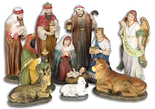 Kit de 11 pièces santons crèche Noel Animal Peint à la Main Style Antique 20cm
