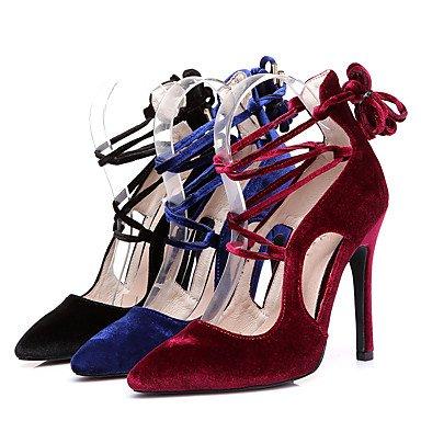 Moda Donna Sandali Sexy donna tacchi primavera / estate / autunno Novità Velvet Party & sera abito / / Casual Stiletto Heel Lace-up Nero / Blu Royal / Burgundy navy blue
