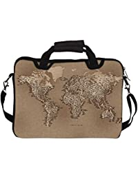 """Snoogg Map Of Cloth 13"""" 13.5"""" 13.6"""" Inch Laptop Notebook SlipCase With Shoulder Strap Handle Sleeve Soft Case..."""