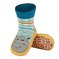 Chaussons chaussettes avec semelle en véritable cuir - Taille EUR 19-21 pour bébé 0-24 Mois HIPPO