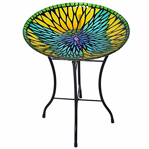 Peaktop 3208930 Outdoor Mosaic Butterfly Fusion Glass Bird Bath with Stand, Yellow, 18-Inch