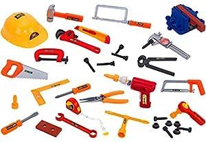 GLOBO 36450 Set de herramientas de juguete herramienta de juguete - Herramientas de juguete (Set de herramientas de juguete, Multicolor, Niño, 42 pieza(s), Martillo, Alicates, Saw, Destornillador, Tornillos, Caja)