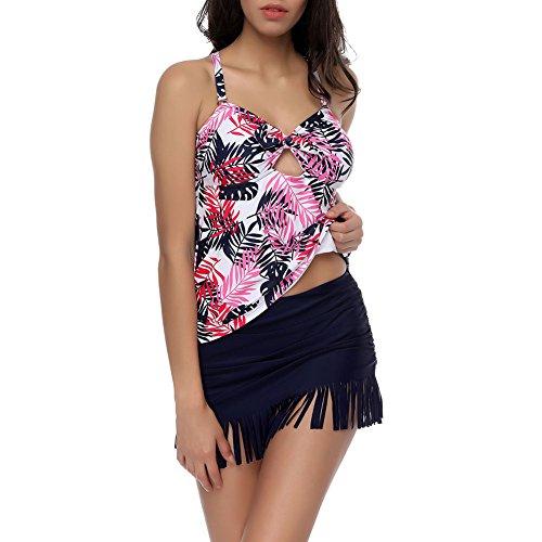 Lover-Beauty Damen Bikini 50s Retro Zweiteiler Wireless Bademode mit gepolsterten Sommer Schwimmen Kostüm Tankini Set Badeanzug Rot Quaste