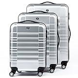 FERGÉ Dreier Kofferset NICE - Trolley-Koffer ABS&PC - 3 Trolley-Hartschalenkoffer mit 4 Zwillingsrollen silber glänzend