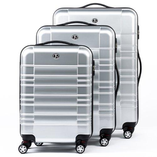 FERGÉ Dreier Kofferset NIZZA Trolley-Koffer neu Reisekoffer leicht | Set 3-teilig Hartschalenkoffer mit 4 Zwillingsrollen (360°) | Koffer Hartschale silber...