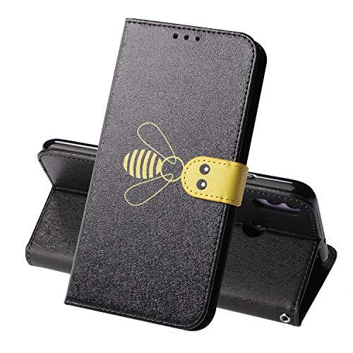 Miagon für Huawei Honor 8X Flip Hülle,Süß Biene Seide Texturiert Wallet Case Handyhülle PU Leder Tasche Case Karten Steckplätzen Ständer Schutzhülle,Schwarz