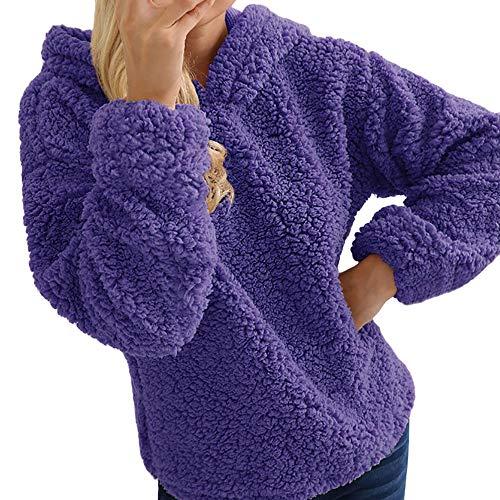 MRULIC Hoodie to-Kragen der Frauen Volle Hülsen Warmer Pullover Trägt Obersten mit Kapuze Pullover(Violett,2XL)