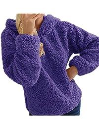 Yvelands Mujer Casual Sólido con Capucha Activa O-Collar de Manga Completa Jumper Cálido Outwears Top Blusa Escudo