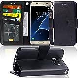 Arae Galaxy S7 Hülle, Handyhülle Galaxy S7 Tasche Leder Flip Cover Brieftasche Etui Schutzhülle für Samsung Galaxy S7 - Schwarz