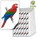 480 x Aufkleber - Papagei . Hochwertige selbstklebende Etiketten mit