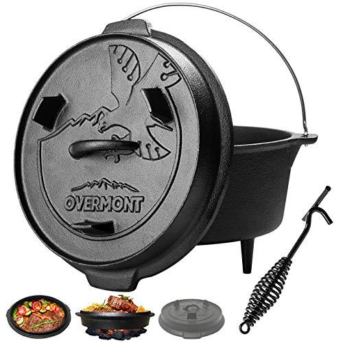 Overmont Feuertopf Dutch Oven Gusseisen Kochtopf einsatzfertig eingebrannt [Doppelfunktion Deckel & Bratpfanne] [mit Deckelheber Füße] für Camping Garten Lagerfeuer und Grillen