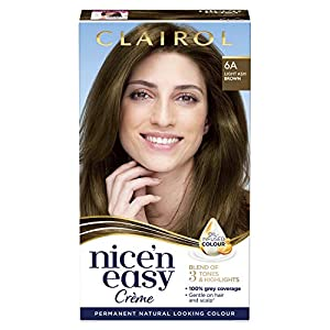 Clairol Nice' n Easy Crème, Natural Looking Oil Infused Permanent Hair Dye, 6A Light Ash Brown 177 ml