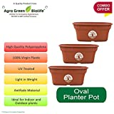 #10: Green and Pure - Premium Quality 12 Inch Oval Flower Planter   Planter Pot   Plant Containers Pack of 3 - Brown Colour