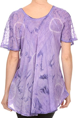Sakkas Hana Tie Dye Fit Relaxed Broderie mancherons Peasant Blouse Batik / Top Violet