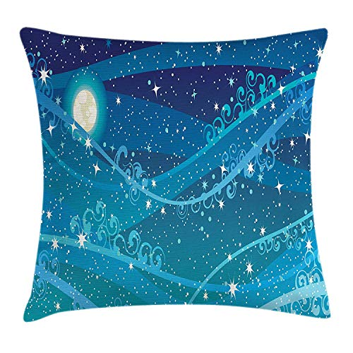 CHSUNHEY Kopfkissenbezüge,Starry Night Night Sky with Full Moon Astronomy Theme Dots Stripes Swirls Pattern,Home Decorative Square for Sofa Throw Pillow Case 18