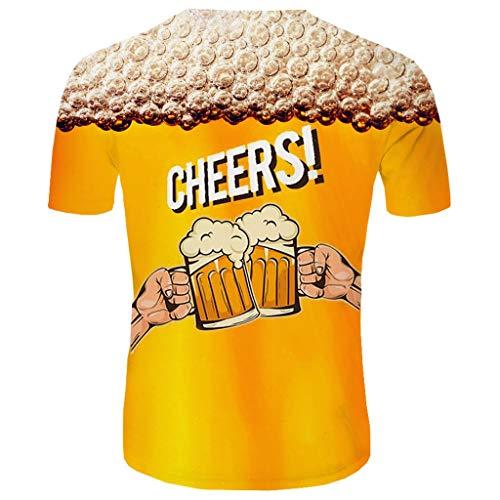 Realde Herren Oder Rundhals Kurzarm T-Shirt Happy Cheer Loose 3D Bierdruck Oberteil Herbst und Winter Passt super auch zur Jeans Männer BequemTops Größe M-XXXL -