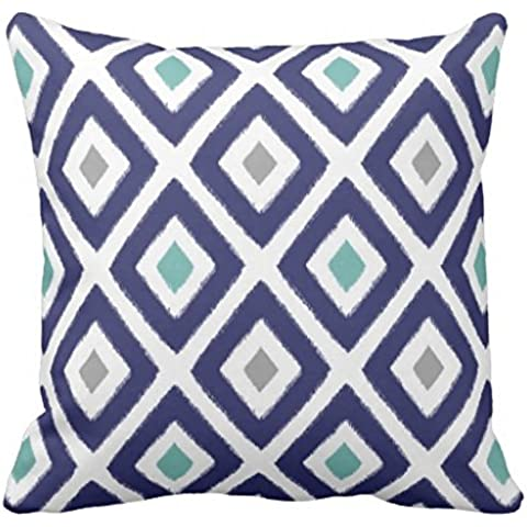 Navy Blue and Grey Ikat Diamond Pattern Outdoor pillowcase 24*24