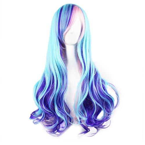 Harajuku Um Helle Farbverlauf Blau Rosa Natürliche Wellenförmige Lange Haare Synthetische Halloween-schwierigkeit Animation Universum Spiel für Festival Cosplay Halloween Kostüm ()