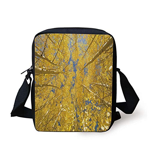CBBBB Yellow and Blue,Looking Skyward Amongst The Patch of Sun lit Aspen Trees in Autumn Life Print,Yellow Print Kids Crossbody Messenger Bag Purse -