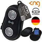 KNG Lautsprechertasche für MP3 Player Smartphone iPOD Handy Lautsprecher Box Tasche schwarz tragbar mobil - 2 Lautsprecher ! STEREO SOUND ! Etui Case
