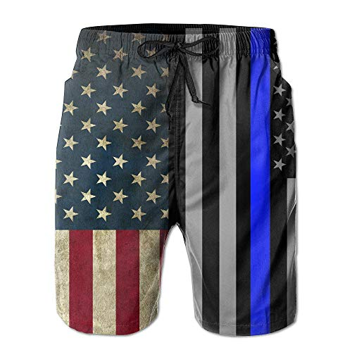 Madras Plaid Shorts (Desing shop Vintage American Flag Blue Line Men's Water Sports Beach Shorts Small)