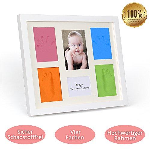 marsboy Baby Bilderrahmen Vier Farben Geburt Gipsabdruck Fussabdruck Handabdruck Abdruck DIY 5er-Set (1 Foto und 4 Baby-Abdrücke) 100% schadstofffrei