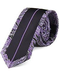 Cravate slim semi-paisley violet