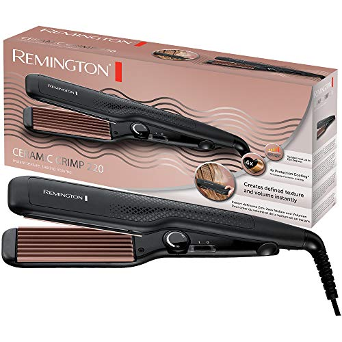 Remington Kreppeisen Ceramic Crimp 220 S3580, Zick-Zack Wellen und Volumen, 37mm Stylingplatten mit Rillen, 4-facher Schutz, hochwertige, antistatische Keramik-Turmalin-Beschichtung, rosé/schwarz