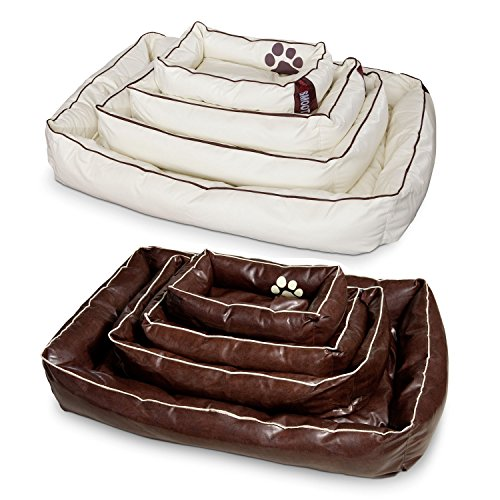 Smoothy Hundekorb aus Leder; Hunde-Körbchen; Hundebett für Luxus Vierbeiner; Beige-Weiß Größe L (106x74cm) - 6