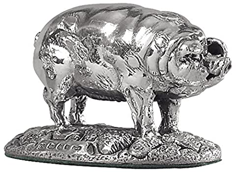 Silver Pig. Miniature sterling silver ornament.Hallmarked.Made in England.