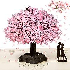 Idea Regalo - 3D Biglietti Auguri, 3D Pop-up San Valentino Biglietti di Auguri invito Matrimonio Carta,Anniversario 3D Carta Romantici Sotto il Ciliegio per Compleanno Romantico e per Anniversario/Nozze