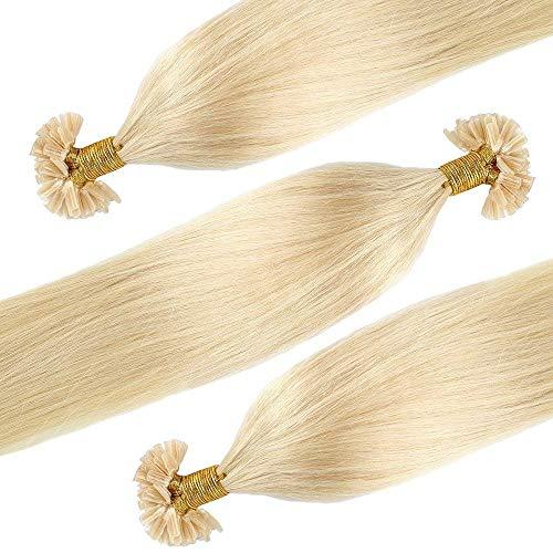 Extensions Echthaar Bondings Haarverlängerung U-Tip 100 Strähnen 0.5g per Echthaarsträhne 50g-50cm(#613 Hell-Lichtblond)
