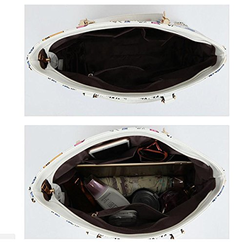 Dame Druck Art Und Weise Sechs-Stückpaket Beiläufig Diagonal Beweglich Großer Beutel Mappe Handtasche Schlüsselkasten BlackHead