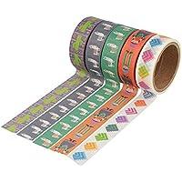 Artemio Set de 5Masking Tape alpaca (X), multicolor, 5rollos de 15mm x 5m