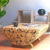 Möbel Bressmer Couchtisch Teak Holz Ranting Medio massiv | Massivholztisch Wohnzimmer Tisch | Holztisch Teakholz