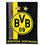 Borussia Dortmund Fleecedecke / Decke mit Streifenmuster BVB 09 - plus gratis Aufkleber forever Dortmund