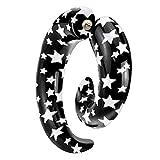 Piersando Fake Ohr Piercing Spirale Dehnung Schnecke Ohrstecker Ohrring Stecker Kunststoff Schwarz Sterne Weiß