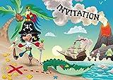 Edition Colibri Lot de 10 Cartes d'Invitation Pirate en Français pour Un Anniversaire d'Enfant, Une Chasse au trésor ou pour Une fête des Pirates des (10660 FR)...