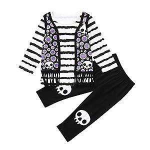 Proumy ◕ˇ∀ˇ◕Baby Kleidung Set Neugeborene Jungen Mädchen Langärmliges gestreiftes bedrucktes gefälschtes Westentop Outfits + Hosen Set