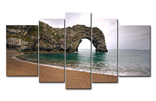 Leinwanddruck Bild Durdle Door Small Beach Nikki Mountain 5Gemälde Moderne Giclée-gespannt und gerahmt-Kunstwerken Öl die Seascape Bilder Foto Drucke auf Leinwand