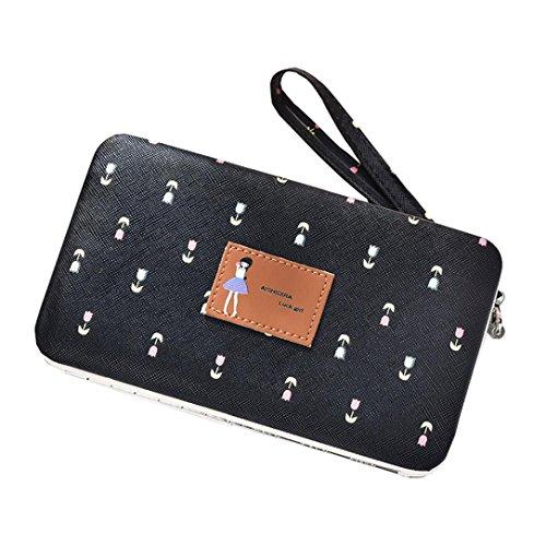 Longra hengsheng 001-5 moda donne lunga cerniera di grande capacità che portano la borsa Nero