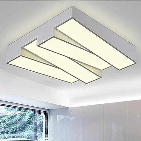 LED blanc Semi Flush monter Plafonnier, 48W 3500K Blanc chaud, Moderne Clé de piano Conception LED Plafonniers, Idéal pour Salon, Salon et Chambre, [Classe énergétique A ++]
