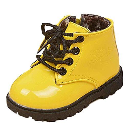 URSING schnürstiefel Mädchen Stil armee-boot martin stiefel warme schuhe einfarbig Schuhe Lackleder Winter weich einzigartig Martin Stiefel Schnürschuh komfortabel schick Kinderschuhe (22, gelb)